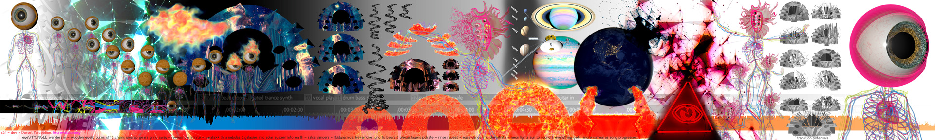 "Shpongle --- cinematic sketch by hourevolution for ""Dorset Perception"" 3d video-mapped mograph wonders"
